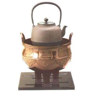茶道具 麟鳳亀龍4点セット <風炉・鉄瓶・五徳・鉋目板> 古手色14-8
