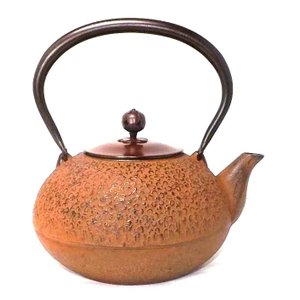 南部鉄瓶 鉄瓶 南部鉄器 梅丸子 銅蓋 錆色 1.2L|kana7