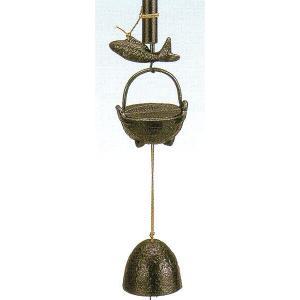 南部鉄 南部鉄器 手作り 鉄 南部風鈴 風鈴 自在カギ 大 高さ210mm|kana7