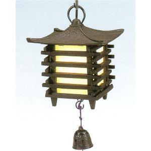 南部鉄 南部鉄器 手作り 鉄 風鈴 南部風鈴 吊灯篭 角型 電球・コード付|kana7