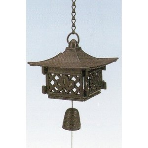 南部鉄器 南部風鈴 風鈴 吊灯篭 合掌 (大) 箱寸(181×181×140mm) 重量:2.2kg|kana7