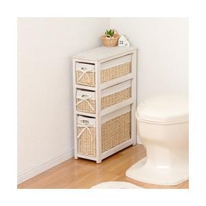 トイレ収納ラック 桐製 木製収納棚 おしゃれ/ホワイト 薄型スリムラックの写真