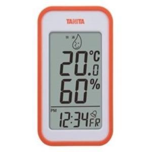温度計 湿度計 温湿度計 タニタ デジタル 最高最低温度計 時計 日時表示 オレンジ