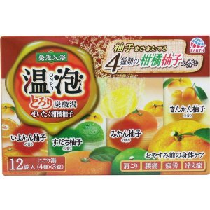 発泡入浴剤 温泡 おんぽう 薬用 とろり炭酸湯 ぜいたく柑橘柚子 4種詰め合わせ 12錠入|kanaemina