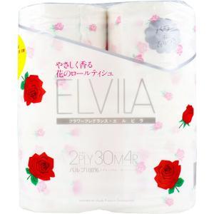 トイレットペーパー おしゃれ 四国特紙 フラワーフレグランス エルビラ バラの香り ダブル 30m×4ロール|kanaemina
