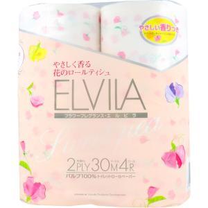 トイレットペーパー 四国特紙 フラワーフレグランス エルビラ やさしい香り スイートピー ダブル 30m×4ロール|kanaemina