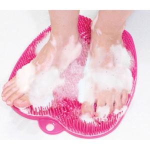 足の裏洗いマット 足の裏洗うマット 足裏ブラシマット フットケア トプラン らくらく足キレイ ピンク|kanaemina