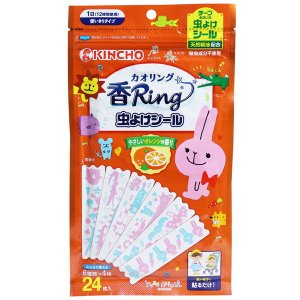 虫除けシール 虫除け 金鳥 香リング やさしいオレンジの香り 24枚入 日本製 貼るタイプ kanaemina