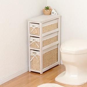 トイレ収納ラック 桐製 木製収納棚 おしゃれ/ホワイト 薄型スリムラック|kanaemina