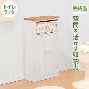 トイレ収納ラック カントリー調トイレラック 幅34cm 収納かご付き おしゃれ 完成品|kanaemina
