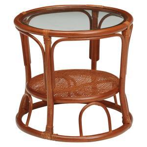 ローテーブル サイドテーブル 籐製 ラタン製家具 ラウンド 円形 小型 ミニ 直径43cm 高さ40cm|kanaemina