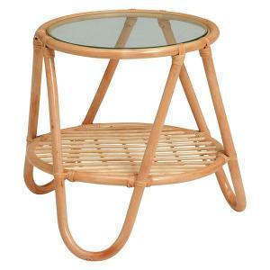 ローテーブル サイドテーブル 籐製 ラタン製家具 ラウンド 円形 小型 ミニ 直径53cm 高さ45cm|kanaemina