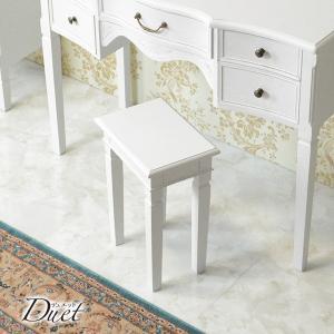 スツール 木製椅子 イス 花台 幅70cm ホワイトアンティーク仕上げ シャビーテイスト 白家具 デュエット|kanaemina