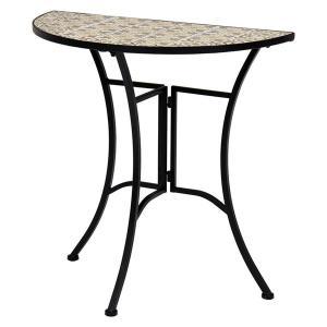 ガーデンテーブル スチール タイル天板 半円型 おしゃれ 幅70 高さ70cm kanaemina