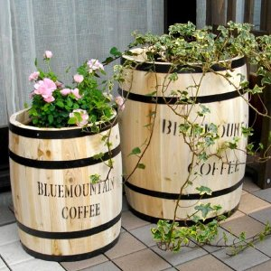コーヒーバレル コーヒー樽 珈琲タル ディスプレイラック ガーデン樽 木製 大小2個組 kanaemina