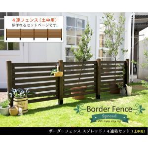 ガーデンフェンス ウッドフェンス ボーダーフェンス スプレッド 土中用 4連結セット 木製 kanaemina