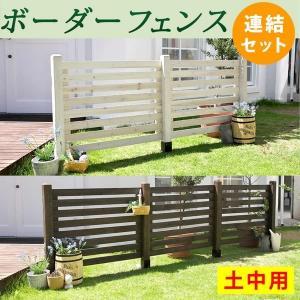 ガーデンフェンス ウッドフェンス 木製 ボーダーフェンス 土中用 連結セット kanaemina