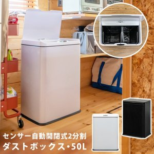 2分別ダストボックス ゴミ箱 センサー自動開閉式 50L おしゃれ 大型 キッチン 乾電池式|kanaemina