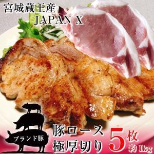 豚ロース とんかつ ステーキ 極厚切り 5枚 約1kg 豚肉 ポーク 国産 蔵王牧場 JAPAN X|kanaemina