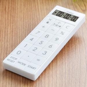 電卓付きタイマー 時計付バイブタイマー 計算機 アラーム音 振動 スリム ストラップ マグネット|kanaemina