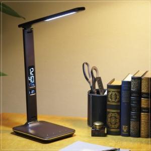 LEDデスクライト 卓上スタンドライト クランプ ビジネス 5段階調光 レザー調 茶 ブラウン kanaemina