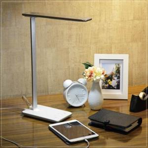 LEDデスクライト 卓上テーブルスタンドランプ スマート シルバー 銀 5段階調光 kanaemina