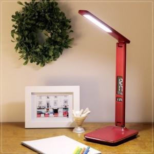 LEDデスクライト 卓上スタンドライト クランプ ビジネス 5段階調光 レザー調 赤 レッド kanaemina