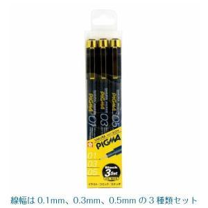 ピグマ3本セット 黒 線幅0.1/0.3/0.5mm 3種類 サクラクレパス|kanaemina