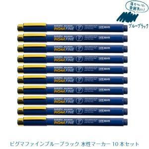 ピグマファイン ブルーブラック 水性マーカー 10本セット 耐水性 サクラクレパス|kanaemina