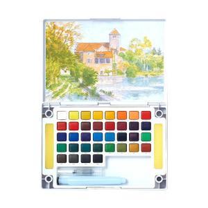水彩画 透明固形水彩絵の具 スケッチセット プチカラー 36色セット パレット 水筆付き 携帯用 ミニ 小型 kanaemina