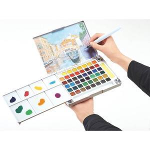 水彩画 透明固形水彩絵の具 スケッチセット プチカラー 48色セット パレット 水筆付き 携帯用 ミニ 小型 kanaemina
