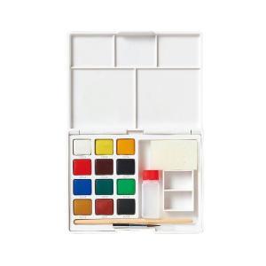 水彩画 透明固形水彩絵の具 スケッチセット プチカラー 12色セット ミニ筆付き 携帯用 ミニ 小型 kanaemina