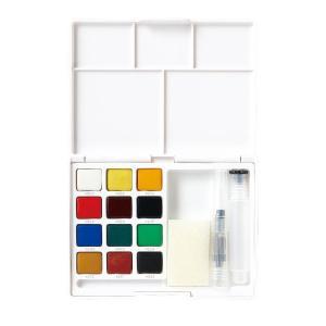水彩画 透明固形水彩絵の具 スケッチセット プチカラー 12色セット 水筆付き 携帯用 ミニ 小型 kanaemina
