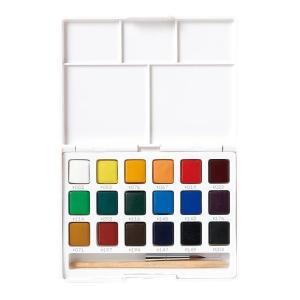 水彩画 透明固形水彩絵の具 スケッチセット プチカラー 18色セット ミニ筆付き 携帯用 ミニ 小型 kanaemina