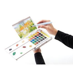 水彩画 透明固形水彩絵の具 スケッチセット プチカラー 30色セット パレット 水筆付き 携帯用 ミニ 小型 kanaemina