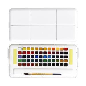 水彩画 透明固形水彩絵の具セット プチカラー 60色セット ミニ筆付き 携帯用 ミニ 小型 kanaemina