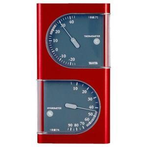 温度計 湿度計 タニタ 温湿度計 アナログ サーモメーター メタリックレッド|kanaemina