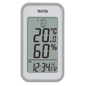 温度計 湿度計 温湿度計 タニタ デジタル 最高最低温度計 時計 日時表示 グレー