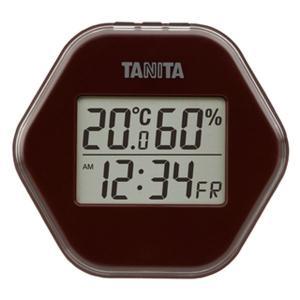 温湿度計 温度計 湿度計 デジタル タニタ 時計 日付表示付き 薄型 コンパクト ブラウン|kanaemina