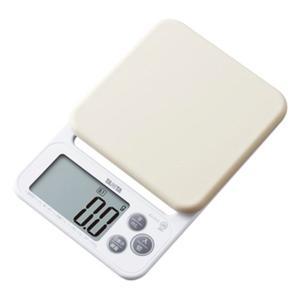 クッキングスケール タニタ デジタル キッチンスケール 最大2kg 洗えるシリコンカバー付き ホワイト|kanaemina