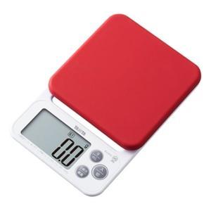 クッキングスケール タニタ デジタル キッチンスケール 最大2kg 洗えるシリコンカバー付き レッド|kanaemina