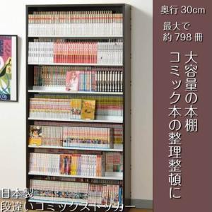 本棚 漫画 大容量 おしゃれ 段違いコミックストッカー 日本製 ウォールナットダーク|kanaemina