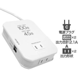 海外旅行用2口 2USB2.1A カシムラ TI-163(海外/旅行/コンセント/USB/充電/海外出張/変換/プラグ)|kanaemina