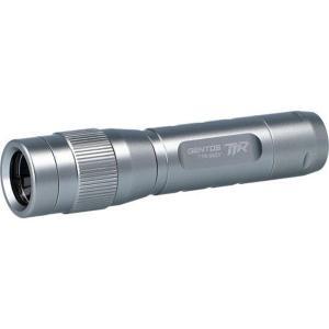 ハンディライト 懐中電灯 ジェントス 高性能レンズ 小型LEDトーチランプ 乾電池式 防塵防滴 90ルーメン シルバー|kanaemina