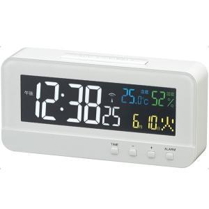 デジタル電波時計 置き時計 カラーハープ ホワイト(温度計/...