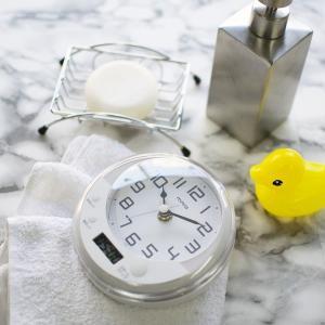 お風呂用時計 バスクロック 置き時計 掛け時計 防滴 防水 半身浴タイマー付き