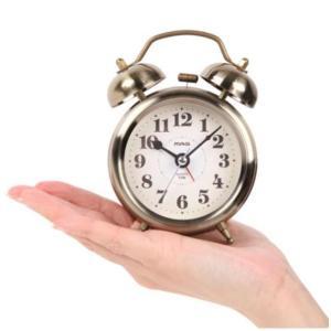 目覚まし時計 大音量ツインベル アラームクロック ゴールド おしゃれ 真鍮テイスト メタル 連続秒針|kanaemina