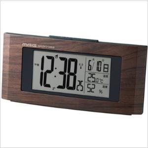 置き時計 電波時計 卓上用クロック デジタル おしゃれ 木目調 カレンダー表示 温度計 湿度計|kanaemina