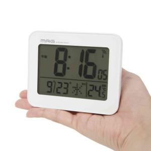 デジタル電波時計 目覚まし時計 置き時計 小型 ミニ 薄型 タッチセンサーバックライト付き|kanaemina