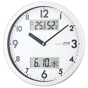 壁掛け時計 アナログ シンプル 温度計 湿度計 カレンダー表示付き|kanaemina